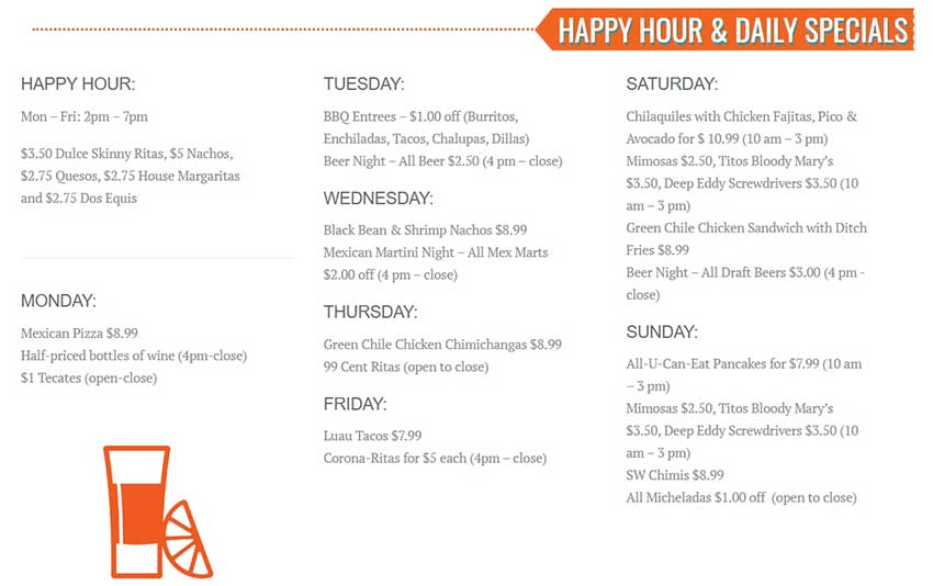El Arroyo Happy Hour Menu