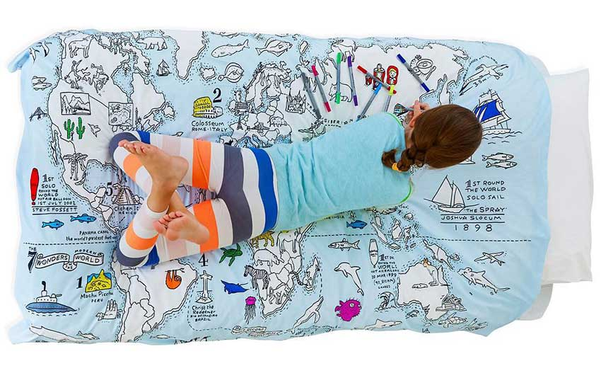 eatsleepdoodle world map duvet cover